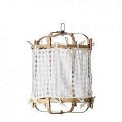 Lampe bambou+coton écru S,...