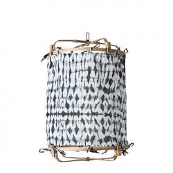 Lampe bambou + coton gris...
