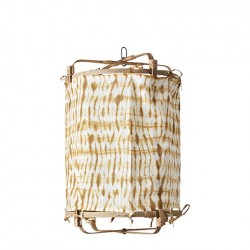 Lampe bambou + coton ocre,...