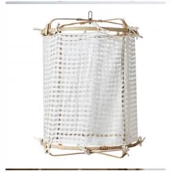 Lampe bambou + coton blanc,...