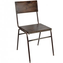 Chaise métal + bois brun,...