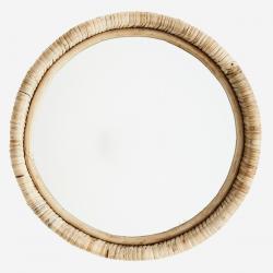 Miroir rond - cadre rotin