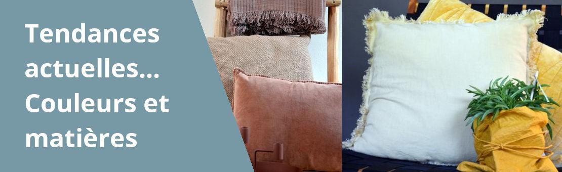 Bannière de présentation des tendances de décoration actuelles avec des photos de coussins et de couvertures