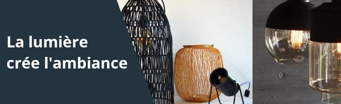 Bannière de présentation des articles de la catégorie éclairage avec des photos de lampes